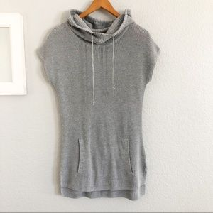 Athleta Gray Knit Hooded Cowl Neck Tunic Sweater